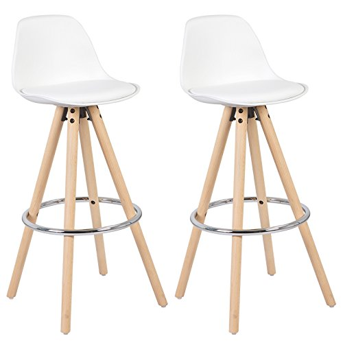 41XI6OdTPPL - WOLTU® BH45ws-2 2 x Barhocker 2er Set Barstuhl aus Kunststoff Holzgestell mit Lehne + Fußstütze Design Stuhl Küchenstuhl optimal Komfort Weiss
