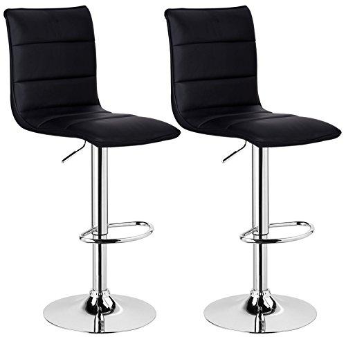 41xMnnNmgvL - WOLTU BH15sz-2 Design Hocker mit Griff, 2er Set, stufenlose Höhenverstellung, verchromter Stahl, Antirutschgummi, Pflegeleichter Kunstleder, gut gepolsterte Sitzfläche, schwarz