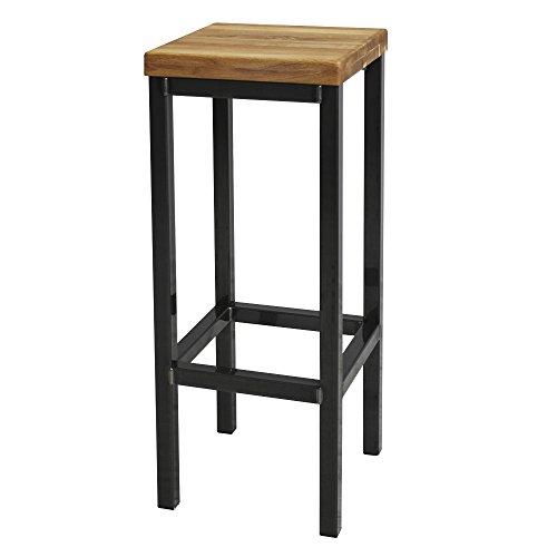 41zURcAUZXL - EIN Original-BestLoft® Barhocker Handmade Industriedesign Loft Stahl Holz Eiche massiv 78cm (Hell, 78cm)