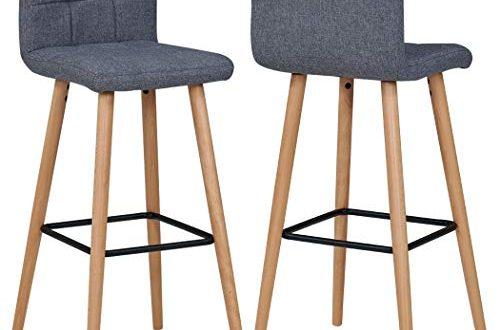 Duhome 2X Barhocker Barstuhl aus Stoff Leinen Grau Gestell aus 500x330 - Duhome 2X Barhocker Barstuhl aus Stoff Leinen Grau Gestell aus Buche Tresenhocker Bar Sessel gut gepolstert mit Lehne Farbauswahl 5117A