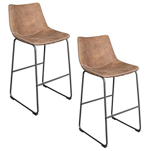 HENGMEI 2er-Set Barhocker mit lehne Vintage Braun - Bequemer Tresenhocker Lounge Hocker Lederähnliche Stoffe Barstuhl Küchenstuhl Esszimmerstühle mit Eisengestel (Braun)