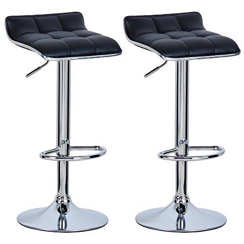 WOLTU BH28sz-2 2X Barhocker 2er Set Barstuhl Tresenhocker, aus hochwertigem Kunstleder, verchromter Stahl, Antirutschgummi,gut gepolsterte Sitzfläche, Schwarz