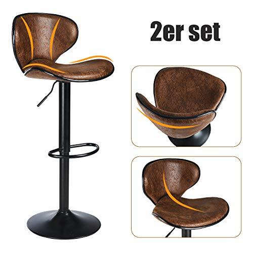 DICTAC Barhocker 2er Set höhenverstellbare Barstühle 360° Drehstuhl Bistrohocker mit Rückenlehne Barstuhl für Hausbar Einfache und schnelle Montage