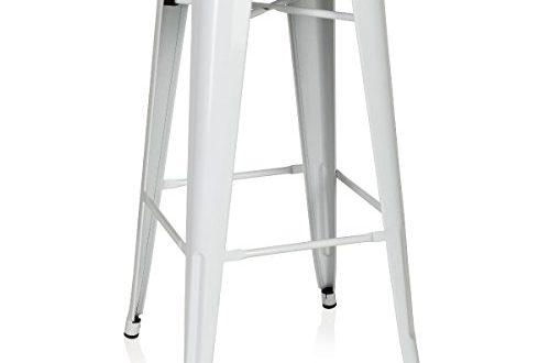hjh OFFICE 645012 Barhocker VANTAGGIO HIGH Metall Weiß Retro-Hocker im Industry-Design, stapelbar