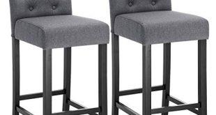 WOLTU® Barhocker BH102dgr-2 2er Set Bistrohocker Tresenhocker Barstuhl mit Lehne, Beine aus Massivholz, Antirutschgummi, dick gepolsterte Sitzfläche aus Leinen, Dunkelgrau